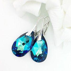 Bermuda Blue Swarovski Crystal Dangle Earrings